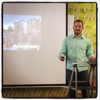 josh from Travis-CI (and Amsterdam and originally Wellington) talking at a Liip techtalk