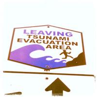 tsunami evacuation area sign