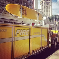 in waikiki, even the firetrucks have surfboards ;) (and they are yellow)