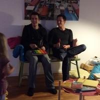Statler and Waldorf at loic's house warming party.